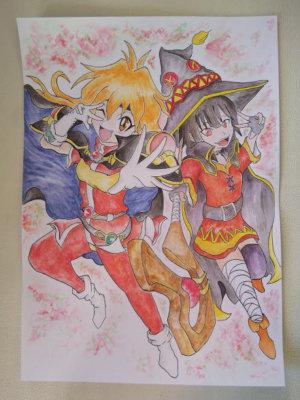 水彩色鉛筆・鉛筆・イラスト/爆裂魔法を使うめぐみんとリナ・インバースを描いてみました。