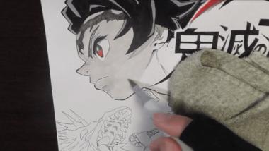 鬼滅の刃 炭次郎イラスト。炭治郎の横顔、全身、正面の詰め合わせイラストを描いてみました。動画付き
