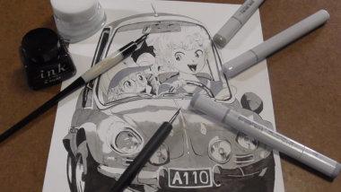 鳥山明 先生の車イラストをコピックを使って模写。コピックでモノクロイラストを描いてみる。動画あり
