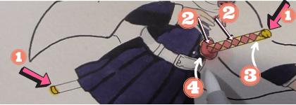 鬼滅の刃 カナヲ イラスト ミニキャラ 塗り方 描き方 栗花落カナヲ 髪飾り