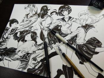 「かげきしょうじょ!!」ペン画イラスト描いてみた。カブラペン、丸ペン、「カケアミ」もどきについて解説。